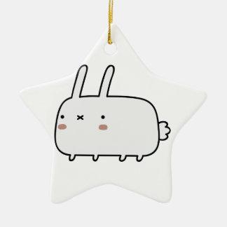 Conejo tímido adorno de cerámica en forma de estrella
