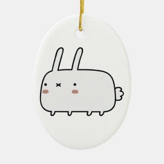 Conejo tímido adorno ovalado de cerámica