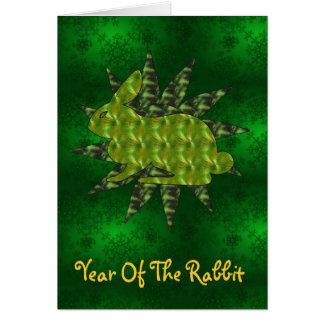 Conejo verde tarjeta de felicitación