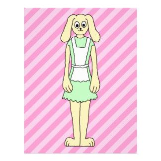 Conejo vestido como camarera tarjeton