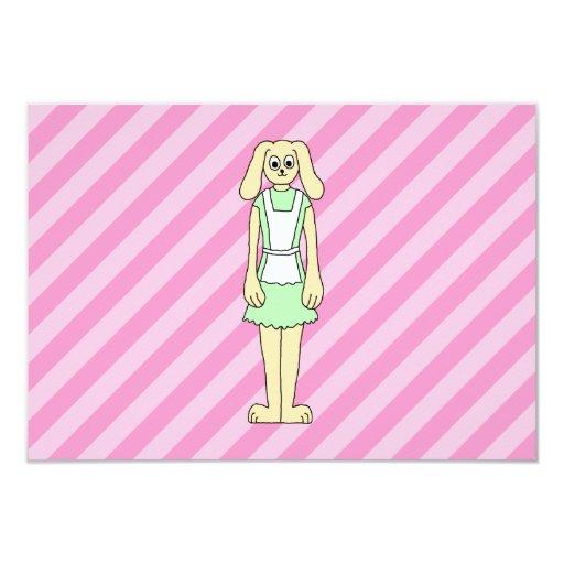 """Conejo vestido como camarera invitación 3.5"""" x 5"""""""