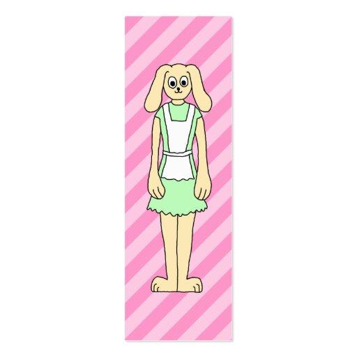 Conejo vestido como camarera tarjeta de visita
