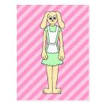 Conejo vestido como camarera tarjeta postal