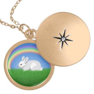 Conejo y arco iris pendiente