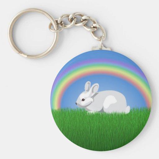 Conejo y arco iris llavero redondo tipo pin
