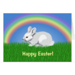 Conejo y arco iris tarjeta