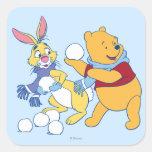 Conejo y bah pegatina cuadrada