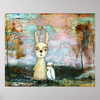 Conejo y búho, tamaño del personalizado de los póster