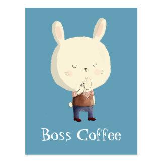 Conejo y café de la mañana postales