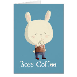 Conejo y café de la mañana tarjeta de felicitación