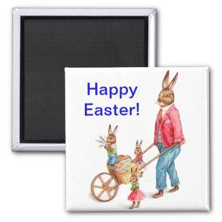 Conejo y familia de Pascua del vintage Imán Cuadrado
