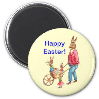 Conejo y familia de Pascua del vintage Imán Redondo 5 Cm