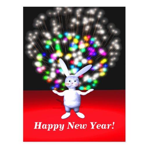 Conejo y fuegos artificiales de la Feliz Año Nuevo Tarjeta Postal