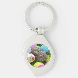 Conejo y pelotas de golf coloreadas llaveros