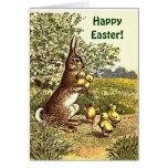 Conejo y polluelos de Pascua del vintage Tarjeta De Felicitación