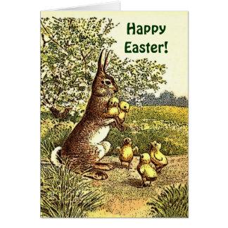 Conejo y polluelos V2 de Pascua del vintage Tarjeta De Felicitación