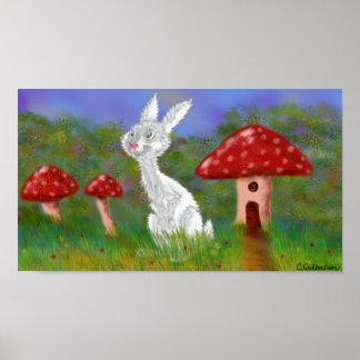 Conejo y poster blancos de las setas