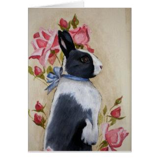 Conejo y rosas tarjeta de felicitación