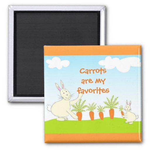 Conejos con las zanahorias - imán