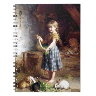 Conejos de alimentación del chica pintura de los c libretas