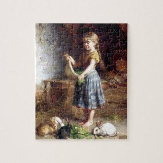 Conejos de alimentación del chica pintura de los c puzzle