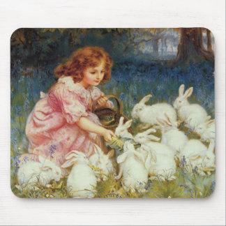 Conejos de alimentación del chica tapete de raton