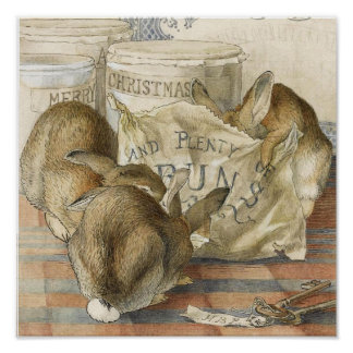 Conejos de conejito de las Felices Navidad Póster
