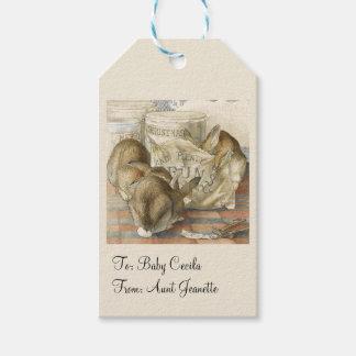 Conejos de conejito del navidad personalizados etiquetas para regalos