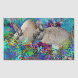 Conejos de conejito en Fantasyland: Un cuento de Rectangular Pegatinas