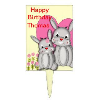 Conejos de conejito mullidos caprichosos lindos decoraciones de tartas