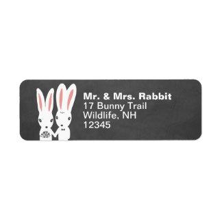 Conejos de conejito que casan pares etiqueta de remite