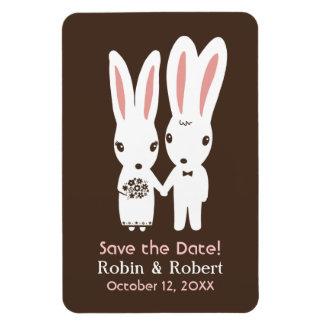 Conejos de conejito que casan reserva la fecha imán