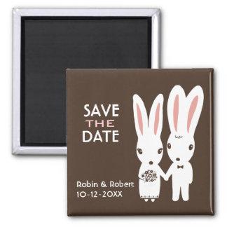 Conejos de conejito que casan reserva la fecha imán cuadrado
