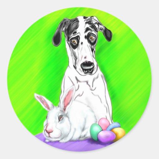 ¡CONEJOS de great dane Pascua?! Pegatina Redonda