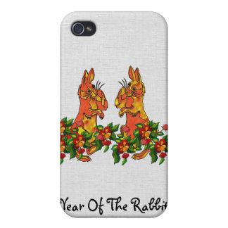 Conejos de la Feliz Año Nuevo iPhone 4 Cobertura
