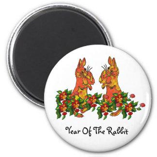 Conejos de la Feliz Año Nuevo Imán Redondo 5 Cm