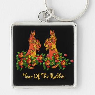 Conejos de la Feliz Año Nuevo Llavero Cuadrado Plateado