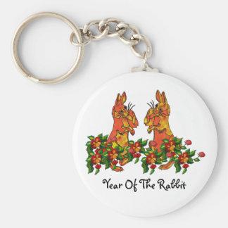Conejos de la Feliz Año Nuevo Llavero Redondo Tipo Pin