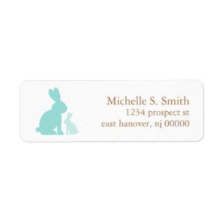 Conejos de la mamá y del bebé de la verde menta etiqueta de remite