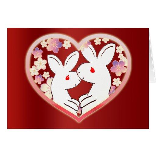 Conejos de la tarjeta del día de San Valentín
