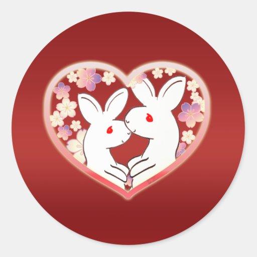 Conejos de la tarjeta del día de San Valentín Pegatina Redonda