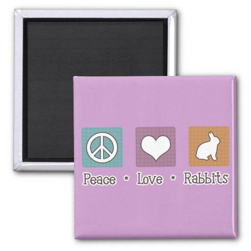 Conejos del amor de la paz imán cuadrado