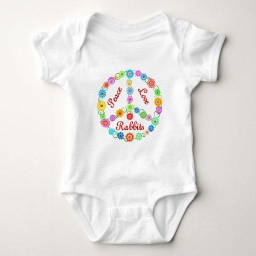 Conejos del amor de la paz mameluco de bebé