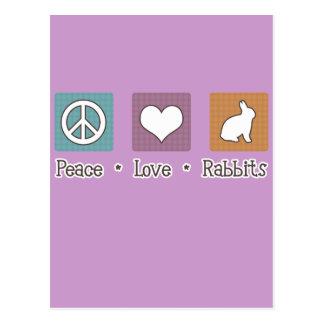 Conejos del amor de la paz tarjeta postal