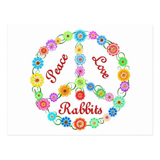 Conejos del amor de la paz tarjetas postales