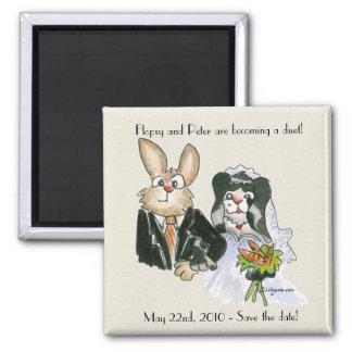 Conejos del dibujo animado que casan reserva los imán cuadrado