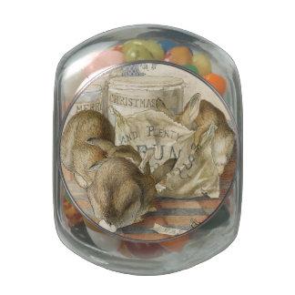 Conejos del navidad en la panadería jarrones cristal