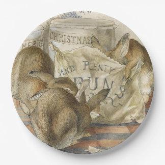 Conejos del navidad en la panadería platos de papel