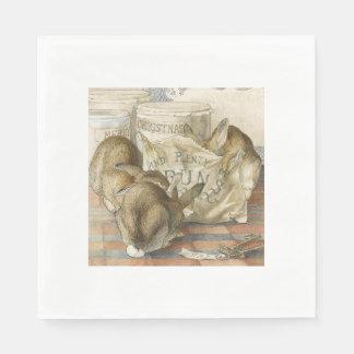 Conejos del navidad en la panadería servilleta desechable