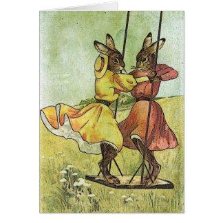 Conejos del vintage, Pascua Tarjeta De Felicitación